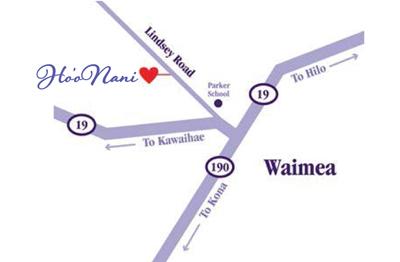 Map of Waimea, Hawaii with HooNani marked